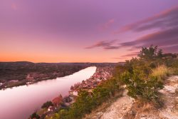Beautiful twilight was seen from Mount Bonnell along the Colorado River in Austin, Texas.